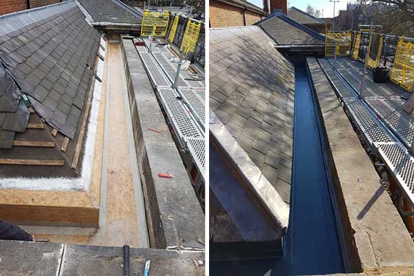 Welsh Slates and GRP Fibreglass Box Guttering